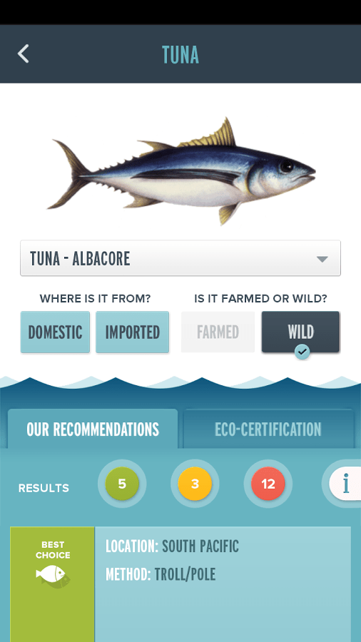 Seafood App Fish Directory screenshot