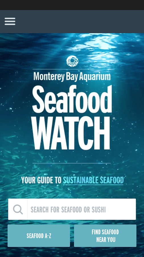 Seafood Watch App browse fish screenshot