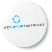 """We Support Refugees"" button"