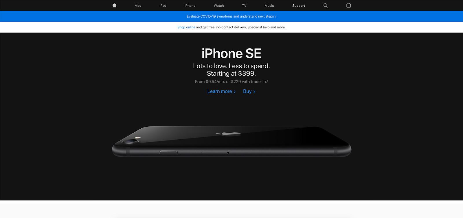 Crisis design on the Apple website