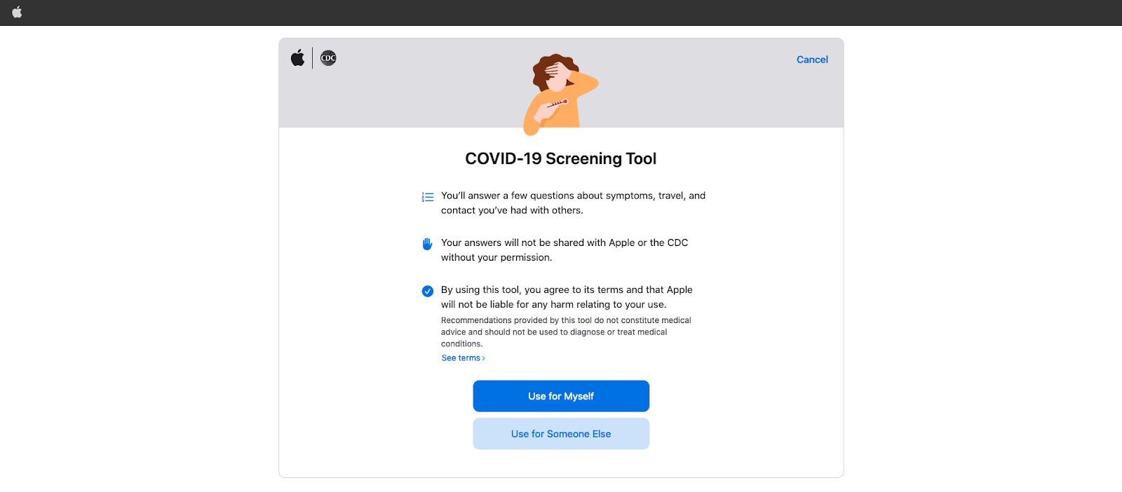 COVID-19 screening tool on the Apple website
