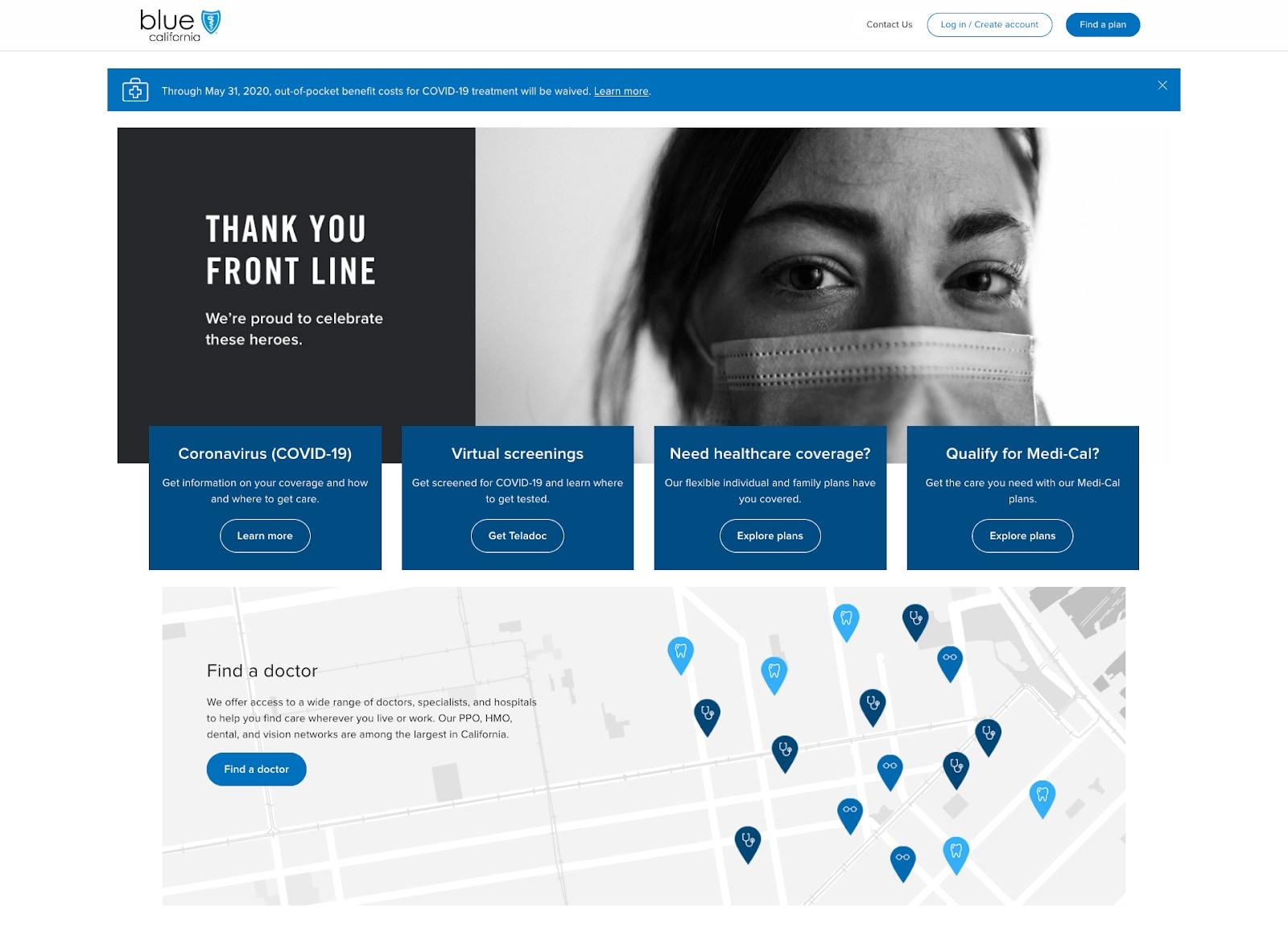 Crisis design on the Blue Shield of California website
