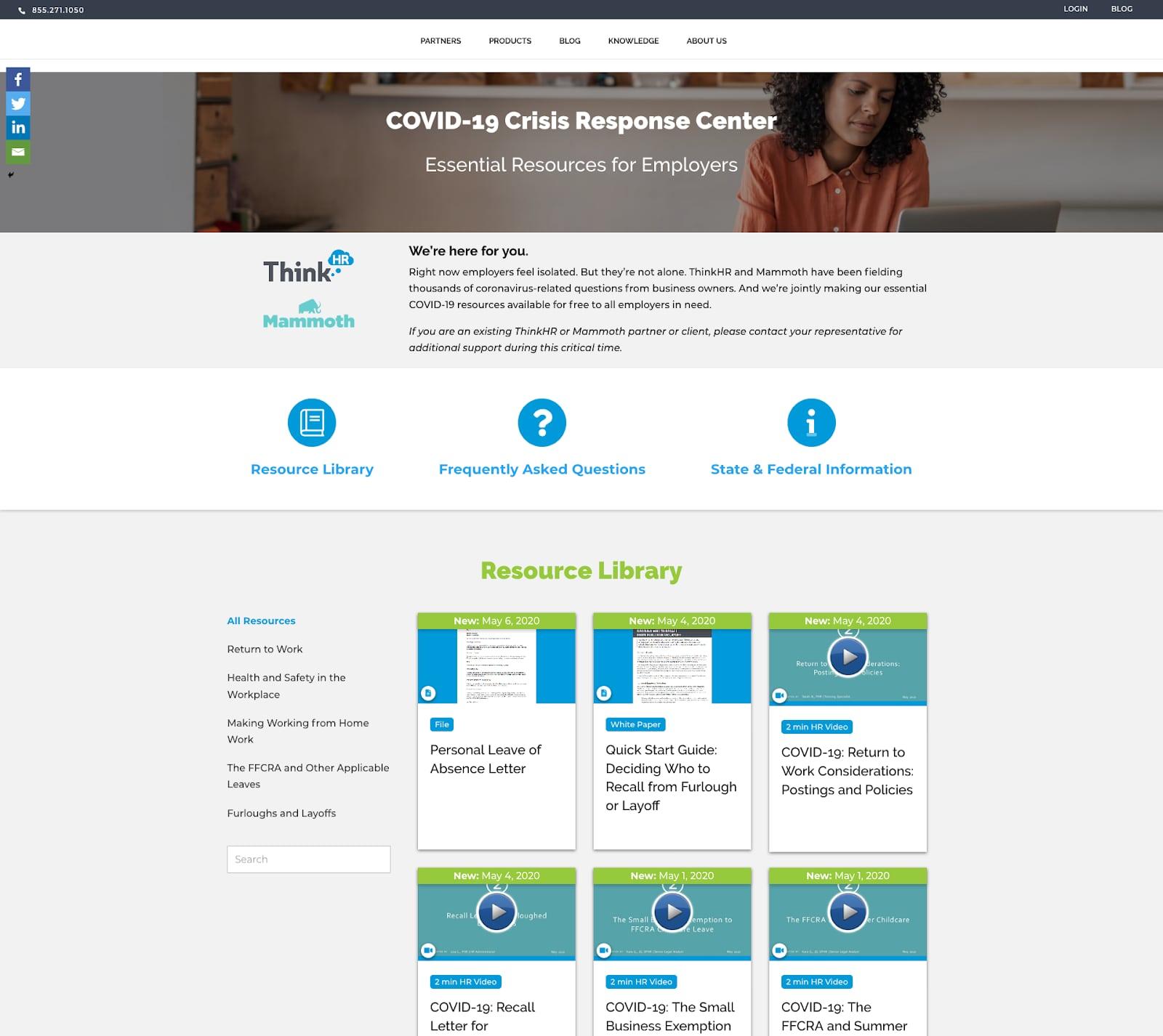 COVID-19 Crisis response center on the ThinkHR website