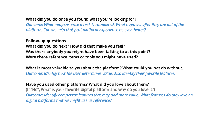 Stakeholder and Customer Interviews example